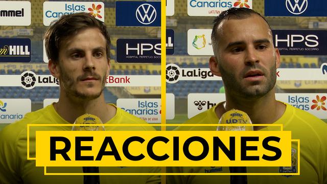 REACCIONES   Jesé y Eric Curbelo analizan el triunfo ante el Cartagena.